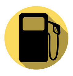 gas pump sign flat black icon with flat vector image