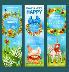 happy easter greetings banner template set design vector image vector image