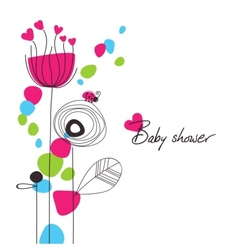 happy floral baby shower vector image