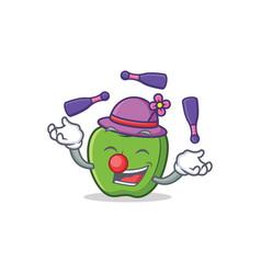 juggling green apple character cartoon vector image vector image