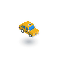 yellow taxi car isometric flat icon 3d vector image
