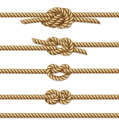 Yellow twisted rope border set vector image
