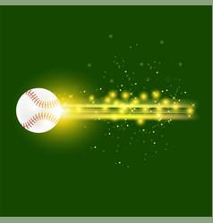 burning baseball ball with yellow sparkles vector image