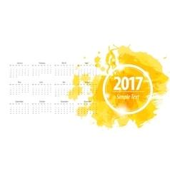 Calendar 2017 week starts from sunday yellow vector image