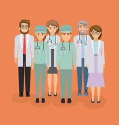 Color background with group of medical vector