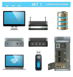 Computer Icons Set 2 vector image vector image