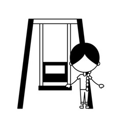 cute girl in swing character icon vector image vector image