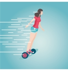 Girl is riding a gyro skooter flat style cartoon vector