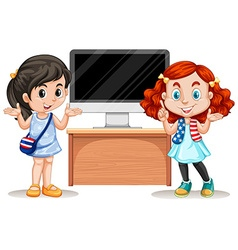 Girl presenting with computer vector image vector image