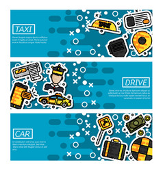 set of horizontal banners about taxi vector image