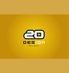 20 number numeral digit white on yellow background vector