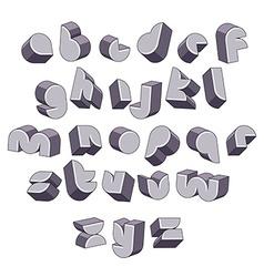 3d futuristic round font monochrome dimensional vector image