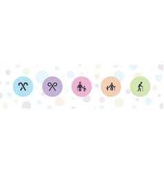 5 cane icons vector