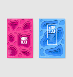 abstract paper cut layered pink blue posters vector image