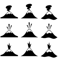 Active erupting volcano pictograms vector