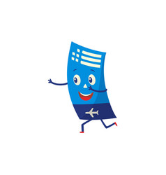 air ticket cartoon character happily running vector image