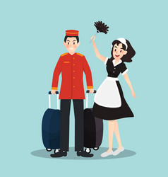 Bellboy and housekeeper in different character vector