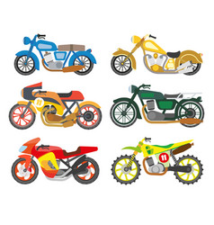 Bikes or motorcycles isolated icons scooters vector