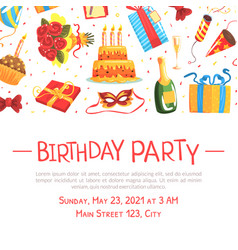 Birthday party banner template festive poster vector