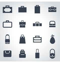 black bag icon set vector image