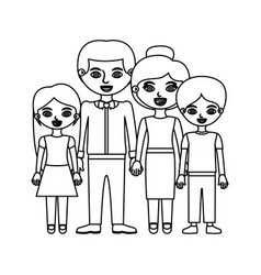 black contour family group in formal suit and vector image