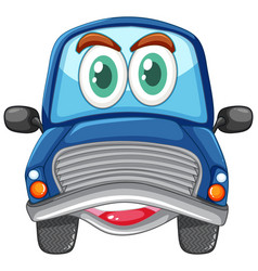 blue car with big eyes carton character isolated vector image