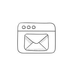 Browser window with electronic mail sketch icon vector image