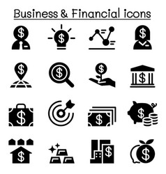business financial icon set vector image