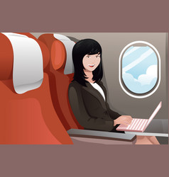 businesswoman working on her laptop vector image