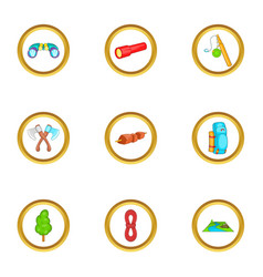 Camping things icons set cartoon style vector