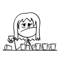 Cartoon frustrated drunk woman sitting vector