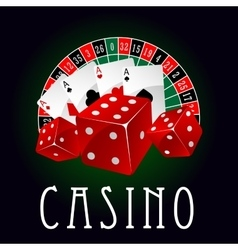 Casino icon with aces dice and roulette wheel vector image