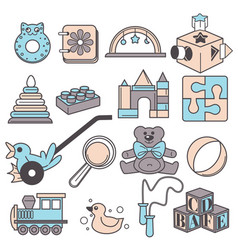 childish toys baby development and child games vector image