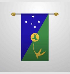 Christmas island hanging flag vector