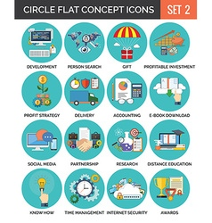 Circle Colorful Concept Icons Flat Design Set 2 vector image