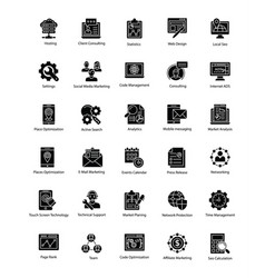 Collection web and seo glyph icons vector