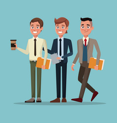 color background full body set of executive men vector image