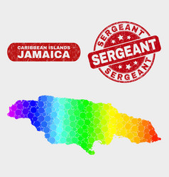 Colored mosaic jamaica map and distress sergeant vector