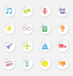 Colorful web icon set 5 on white circle button wit vector