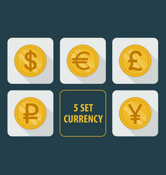 Currency set of icons on white background vector