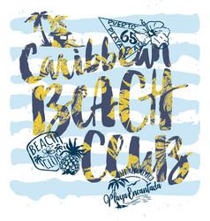 Cute caribbean beach club labels vector