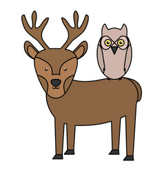 cute reindeer and owl bird woodland characters vector image