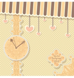 Cute vintage postcard with clock and hearts vector