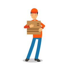 Delivery service worker holding cardbox courier vector