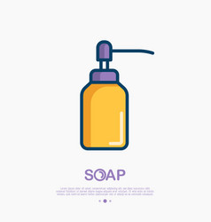 dispenser for gel or foam soap thin line icon vector image