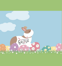 easter day design of rabbit and eggs with flowers vector image