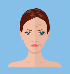 Face of young woman and old woman vector