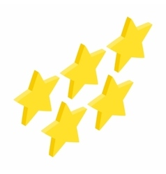 Five golden stars isometric 3d icon vector