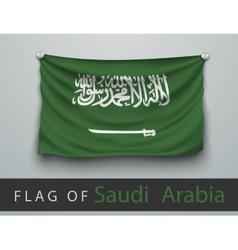 flag of saudi arabia battered hung on wall vector image