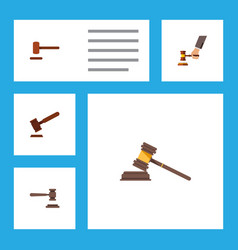 flat icon hammer set of court justice crime and vector image